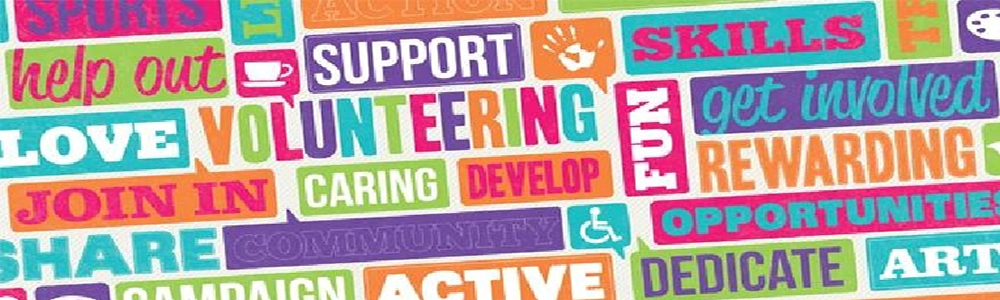 Word art using the words Volunteering, Support, Fun, Develop, Caring, active, Dedicated, Skills, Accessible